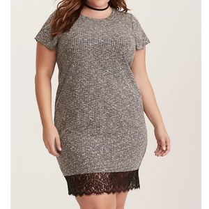 Torrid Grey Ribbed Knit Lace Hem Dress